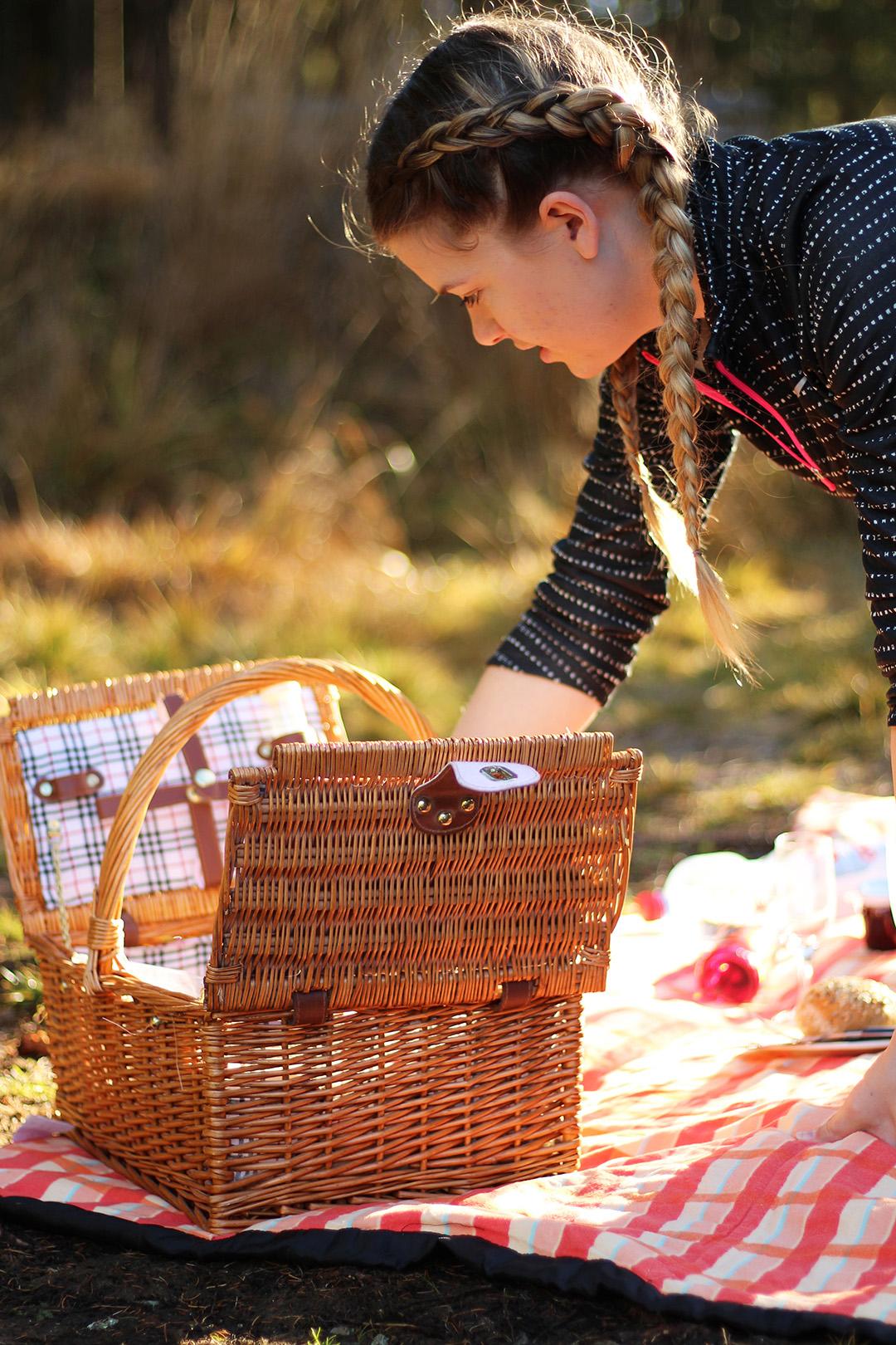 Picknick am Ingerringsee, auspacken vom Korb