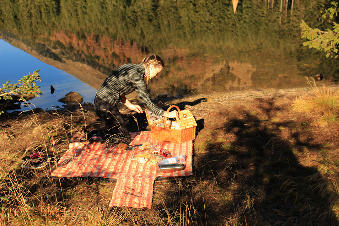 Picknick am Ingerringsee beim auspacken vom Korb