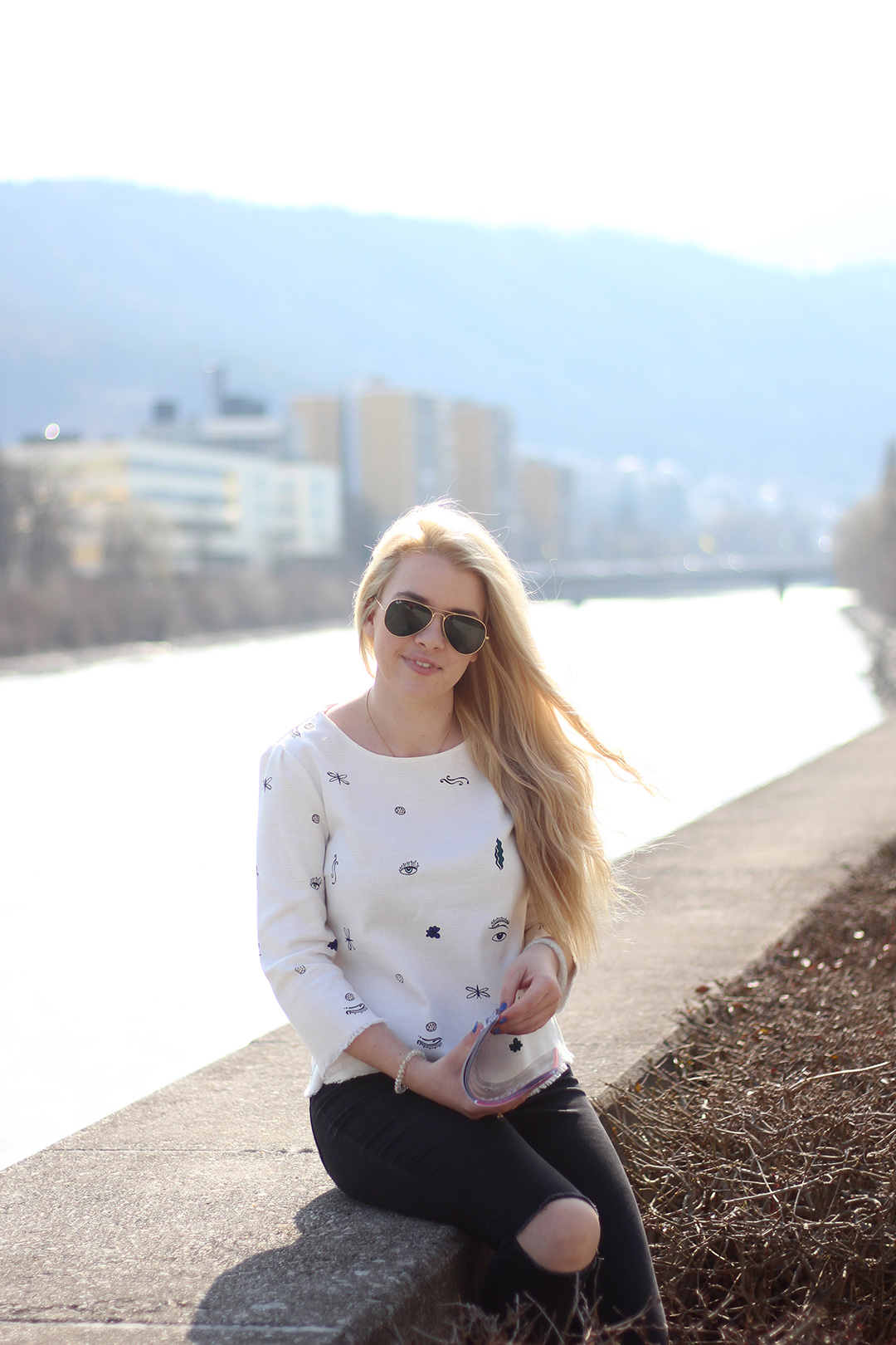 Zara Shirt, Skinny Jeans, Slippers im Frühling
